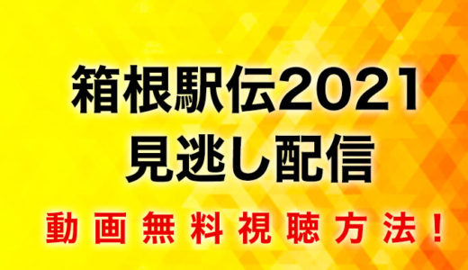 箱根駅伝2021見逃し配信動画無料視聴方法!